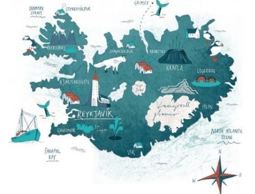mapa ilustrado de Islandia